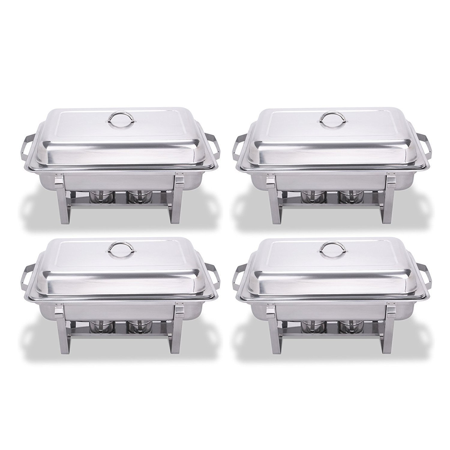 King Chafing Dish Set of 4 Stainless Steel Chafer Full Size 8 Quart Food Chafing Dishes for Catering Buffet Warmer Tray Kitchen Party Dining (Set of 4) Bonus Stackable (4)