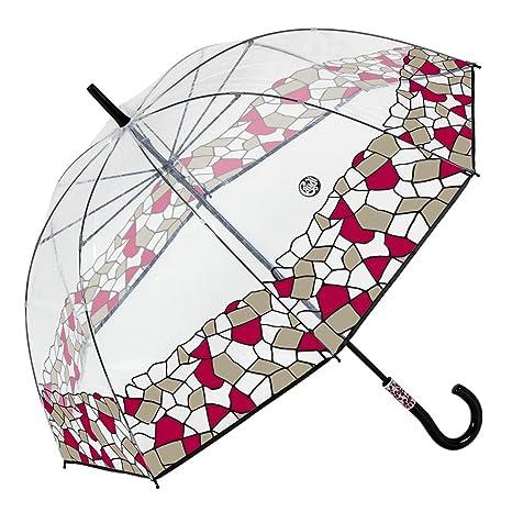 Gaudi-Barcelona Paraguas Largos para Señora con Forma de cúpula Transparente y Mosaico Rojo