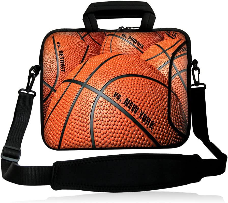 "iColor 15"" Laptop Shoulder Bag 14.1"" 14.2"" 15.6"" Inch Neoprene Laptop Messenger Bag 15.4"" Notebook Computer Dual Zipper Case Cover Pouch Holder Pocket-Basketball"
