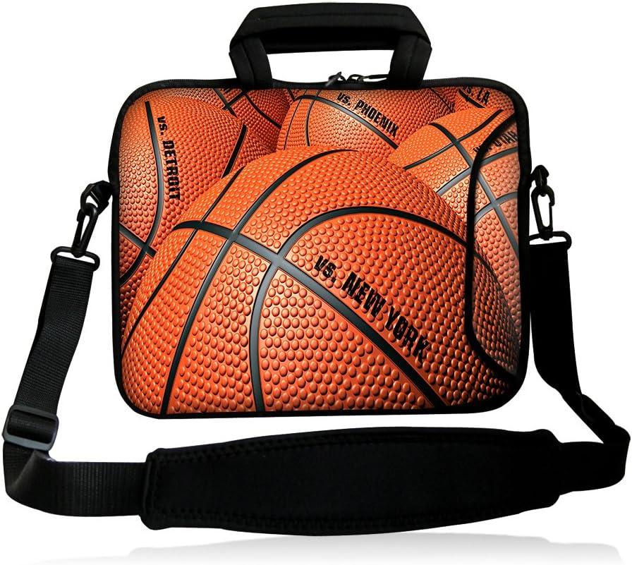 """iColor 15"""" Laptop Shoulder Bag 14.1"""" 14.2"""" 15.6"""" Inch Neoprene Laptop Messenger Bag 15.4"""" Notebook Computer Dual Zipper Case Cover Pouch Holder Pocket-Basketball"""