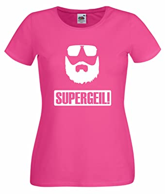 Frauen/Girlie T-Shirt Motiv SUPERGEIL pink XS