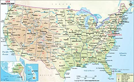 Amazon.com : US Physical Map with Major Cities - Vinyl Print ...