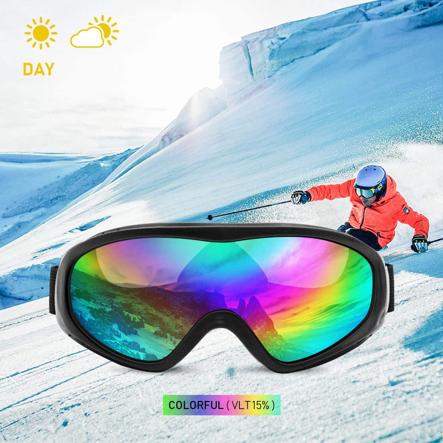 Loopip OTG Ski Snowboard Sports Goggles UV400 Protection Anti-Wind Dust-Proof Military Tactical Sunglasses for Men, Women Youth Pack of 4
