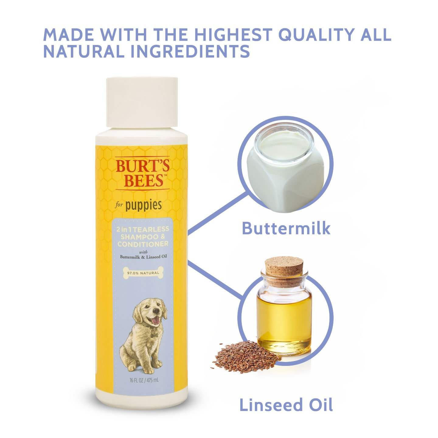 Burt's Bees for Dogs All-Natural Tearless 2 in 1 Shampoo and Conditioner | Best Shampoo & Conditioner for All Dogs and Puppies, Pack of 2