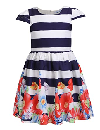 026ea2a4ef90 Arshiner Child Little Girl Cap Sleeve Striped Floral Print Pleated Casual  Dress, Multicolor, 90
