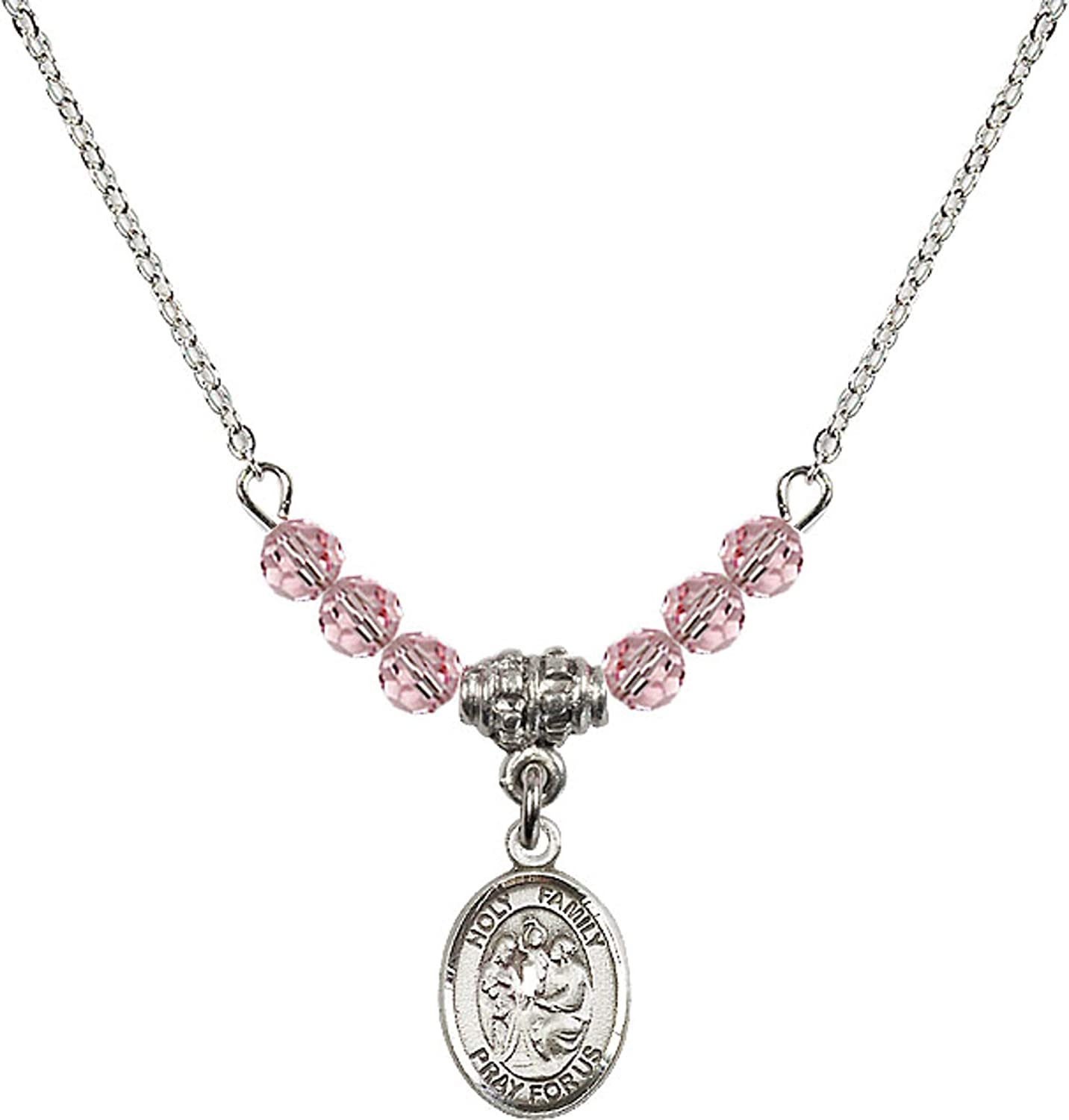 Bonyak Jewelry 18 Inch Rhodium Plated Necklace w// 4mm Light Rose Pink October Birth Month Stone Beads and Holy Family Charm