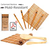 Bamboo Sushi Kit, Carbonised Rolling Mats for Mould-Resistant, Included 2 Rolling Mats - 5 Pairs Chopsticks - Paddle - Spreader, Roll on Beginner Sushi Making Kit
