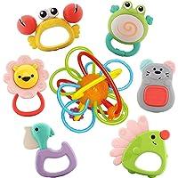 Nene Toys Set de 7 Sonajeros y Mordedores Coloridos para Bebés y Niños a Partir de 6 Meses - Incluye 1 Anillo de…