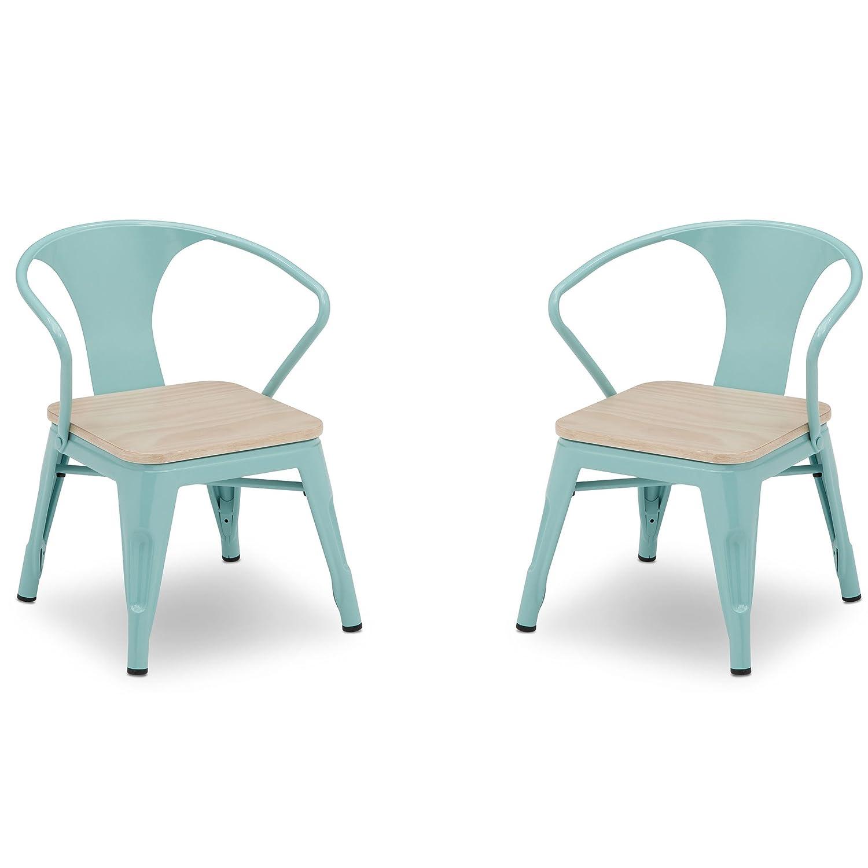 Delta Children Bistro 2-Piece Chair Set, Eggshell Aqua with Driftwood