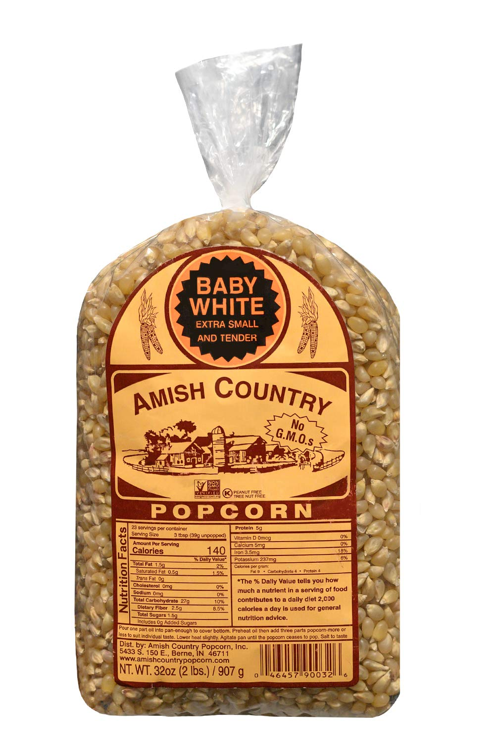 Amish Country Popcorn - Baby White Kernels (2 Pound Bag) - Small & Tender Popcorn - Old Fashioned And Delicious with Recipe Guide by Amish Country Popcorn