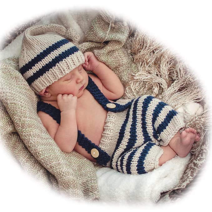 ISOCUTE Newborn Photography Props Baby Boys Photo Shoot Long Tail Hat  Beanie Overalls Blue Stripes Set 29eb353c6c23