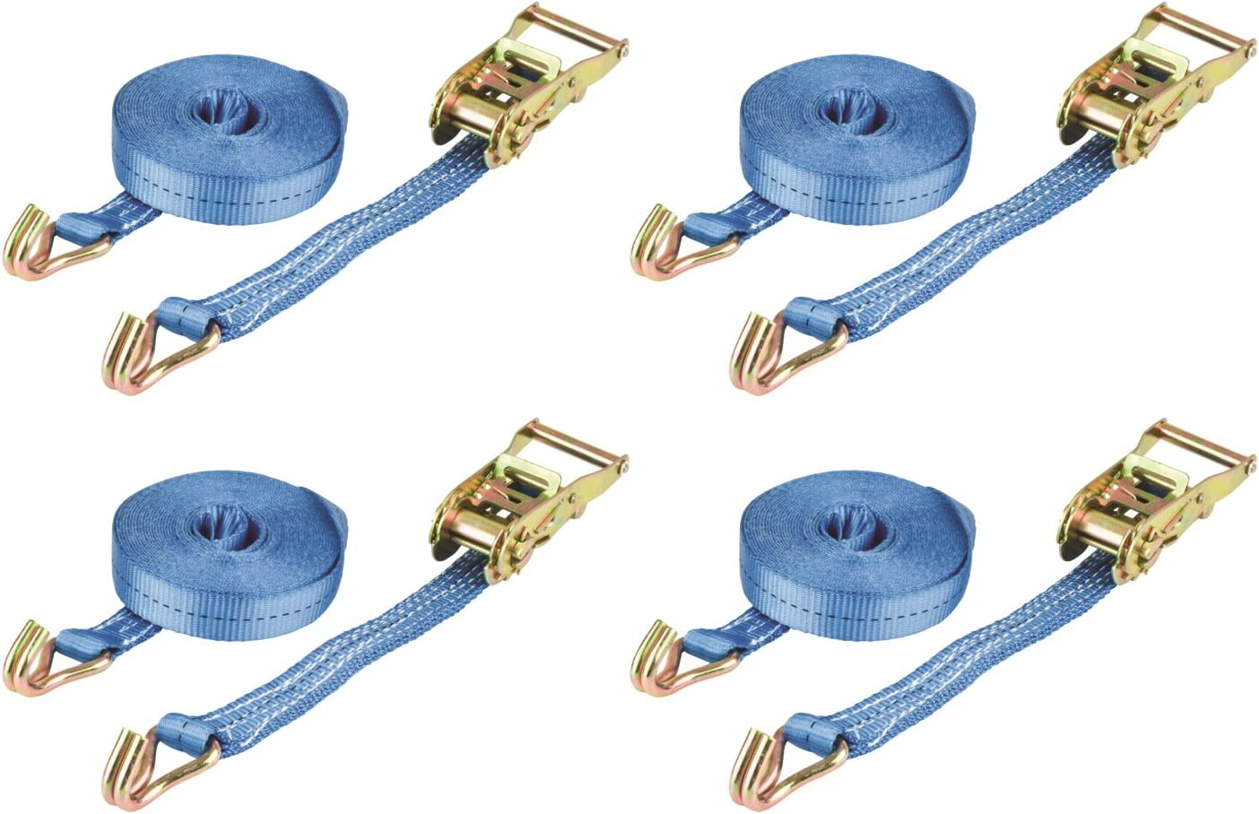 x10 25MM 5 Metre 1.5 Ton Blue Ratchet Lashing Straps with Claw Hook