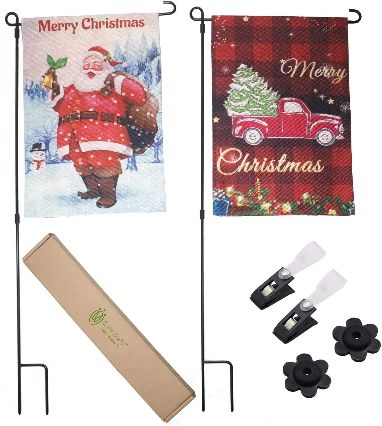 GrainBuds 2 Packs Christmas Garden Flags and Poles, Santa Claus and Red Truck Tree with Tartan Background, 12x18 Inches, Yard Decor(Flags and Poles, 2 Packs)
