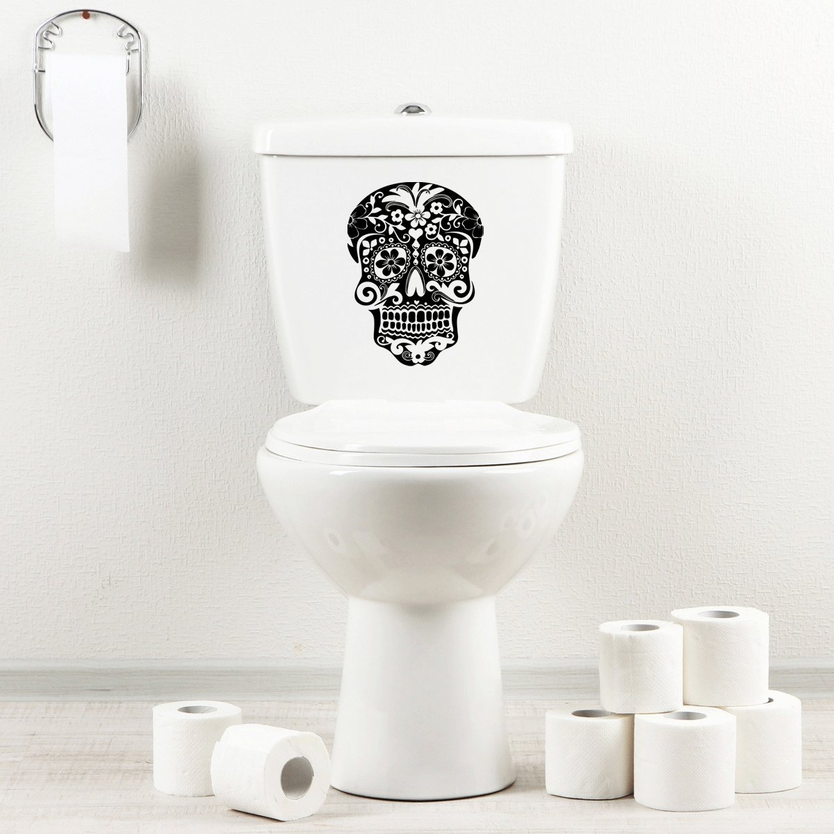 StickAny Bathroom Decal Series Mexican Skull Sticker for Toilet Bowl, Bath, Seat Black