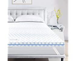 Sleepmax 4 Inch Queen Size Memory Foam Mattress Topper,Gel Infused & 2-Layer Ventilated Design CertiPUR-US Certified Memory F
