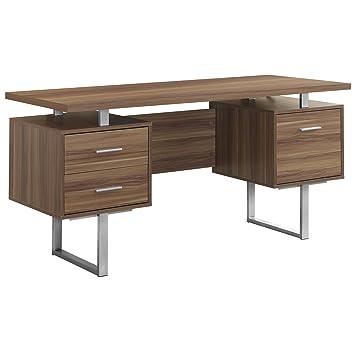walnut office furniture. Monarch Specialties Walnut Hollow-Core/Silver Metal Office Desk, 60-Inch Furniture