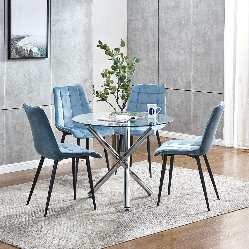 Dining Table Chair Set Of 4 Round Dining Table And 4 Blue Velvet Dining Chairs With Metal Legs Tempered Glass Dining Table 4pcs Side Chairs For Kitchen Dining Room Set Dinette Table