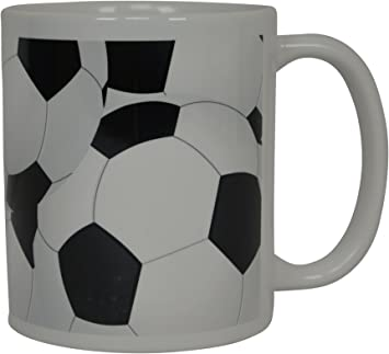 Ceramic Soccer Ball Design Sports Coffee Tea Mug with Handle Great Gift Idea for Coaches 15 Oz Soccer Players Black//White Soccer Fans