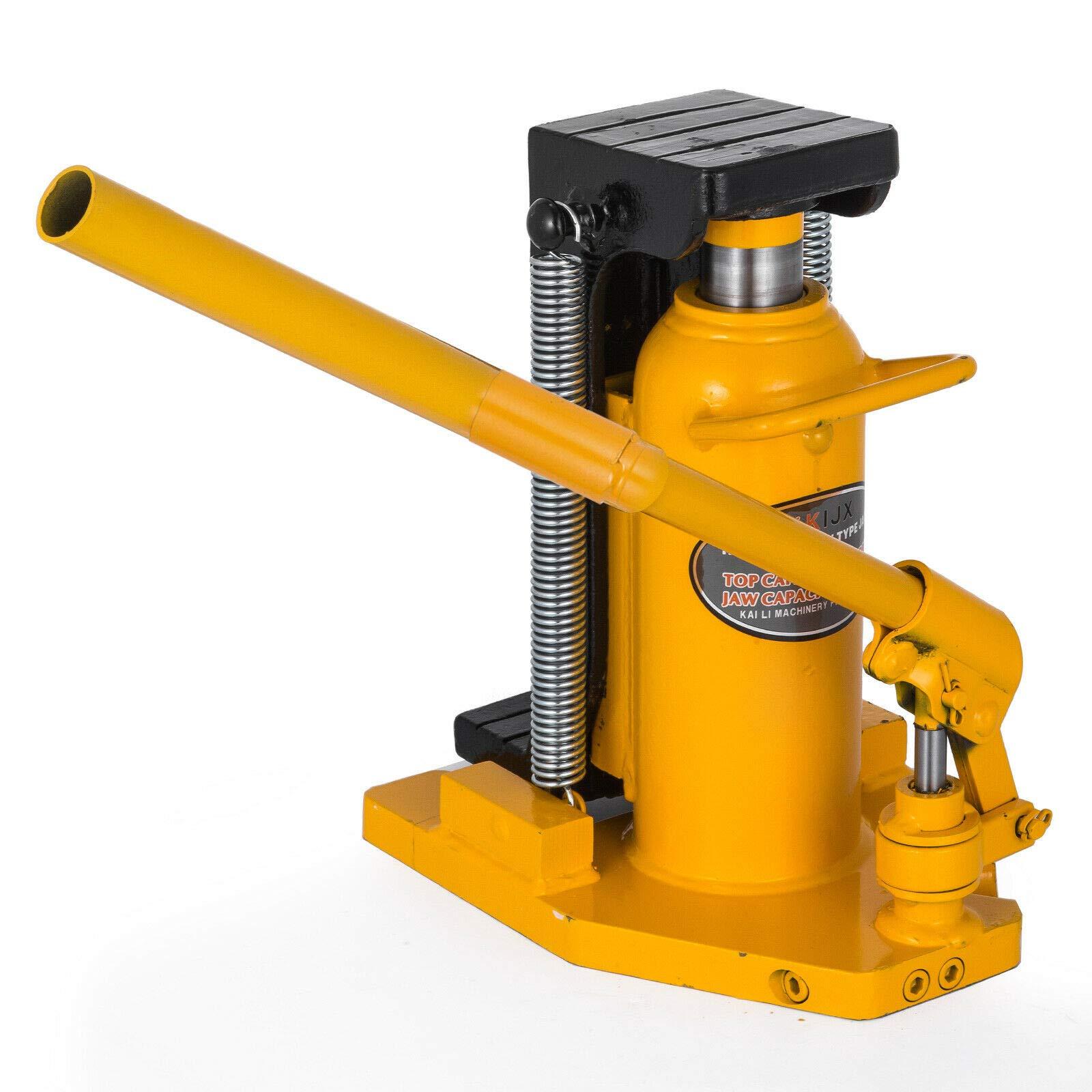 20 Ton Hydraulic Toe Jack Machine Lift Cylinder Equipment Proprietary Tools Home Improvement Garage Industrial Work Heavy Duty Steel Lifting Up Holder Welded Steel 13.7''12.5'' 9.8''
