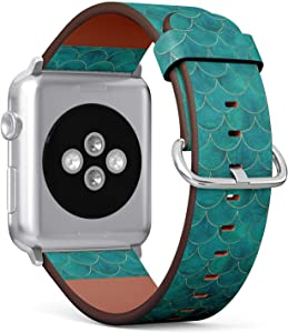 Compatible with Apple Watch 42mm & 44mm (Series 5, 4, 3, 2, 1) Leather Watch Wrist Band Strap Bracelet with Stainless Steel Clasp and Adapters (Mermaid Fish Scale Wave Japanese)
