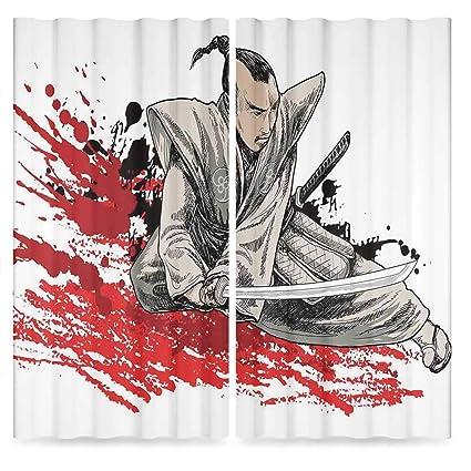 Amazon.com: Japanese Blackout Window Curtain,Warrior Holding ...