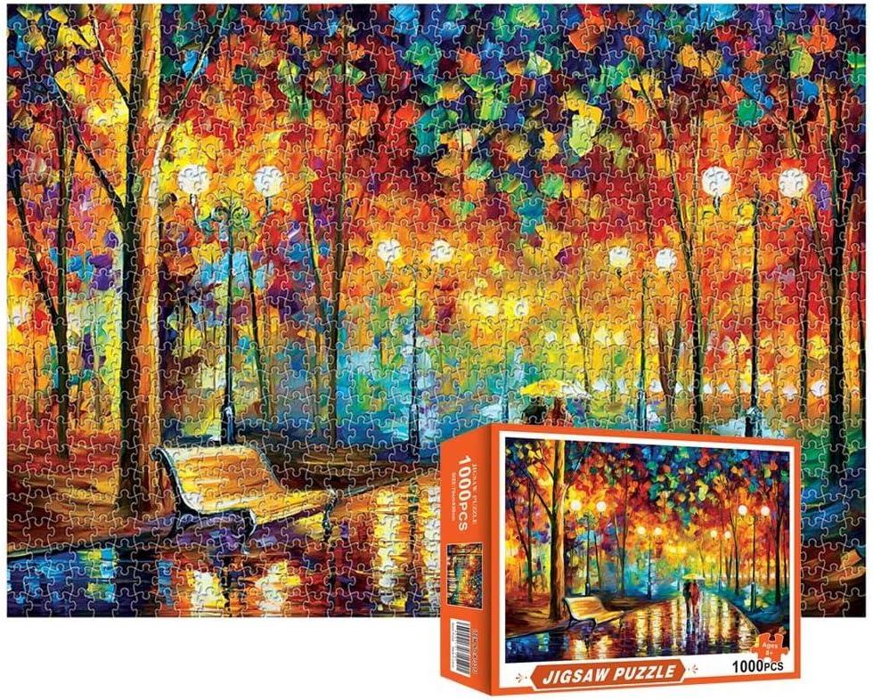 Rainy Night Walk for Adults /& Kids Vertall 1000 Piece Jigsaw Puzzle