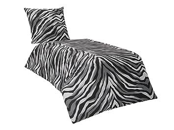 Bettwasche 155x220 Schwarz ~ Tlg renforce baumwolle bettwäsche cm zebra schwarz