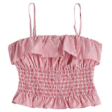 2b0215d8bd9 ZAFUL Women Ruffle Smocked Striped Cami Top Bandeau Tube Crop Tops Pleated  Tank W/Straps: Amazon.co.uk: Clothing