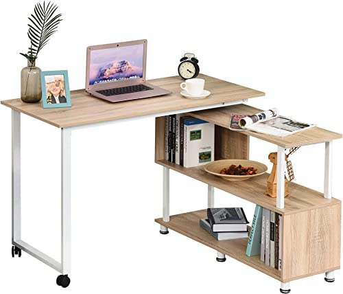 HOMCOM L-Shaped Computer Corner Desk and Rotating Shelf Combo