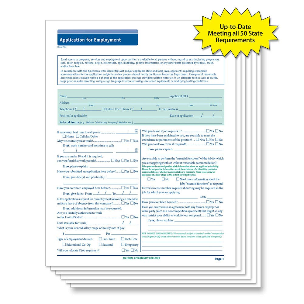 ComplyRight 50 State Compliant Job Application, Long Form, 50 Pack by ComplyRight