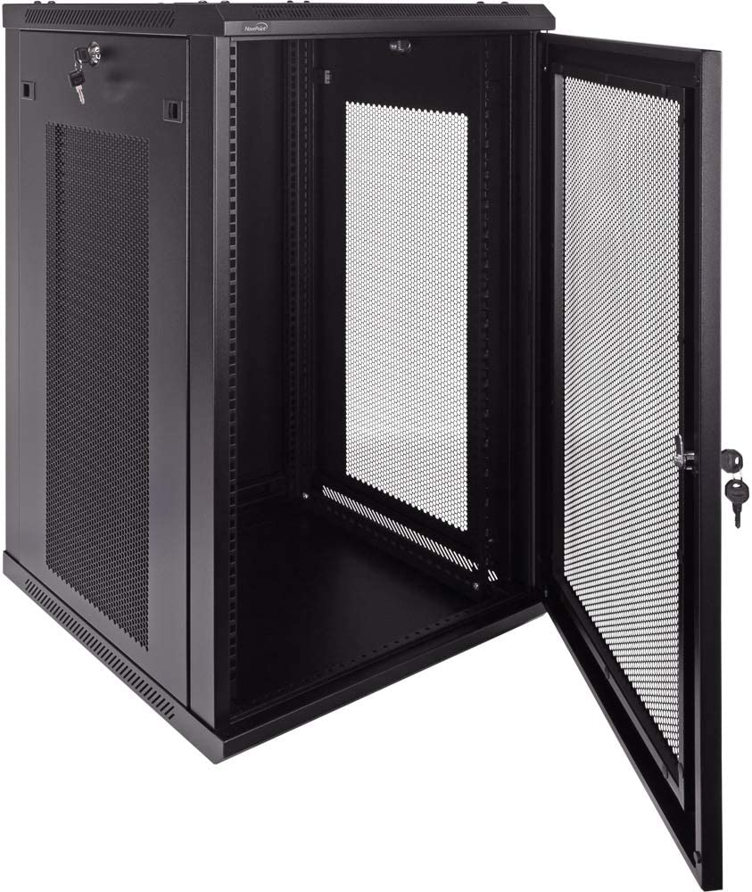 NavePoint 9U Deluxe IT Wallmount Cabinet Enclosure 19-Inch Server Network Rack with Locking Perforated Door 24-Inches Deep Black with//Shelves