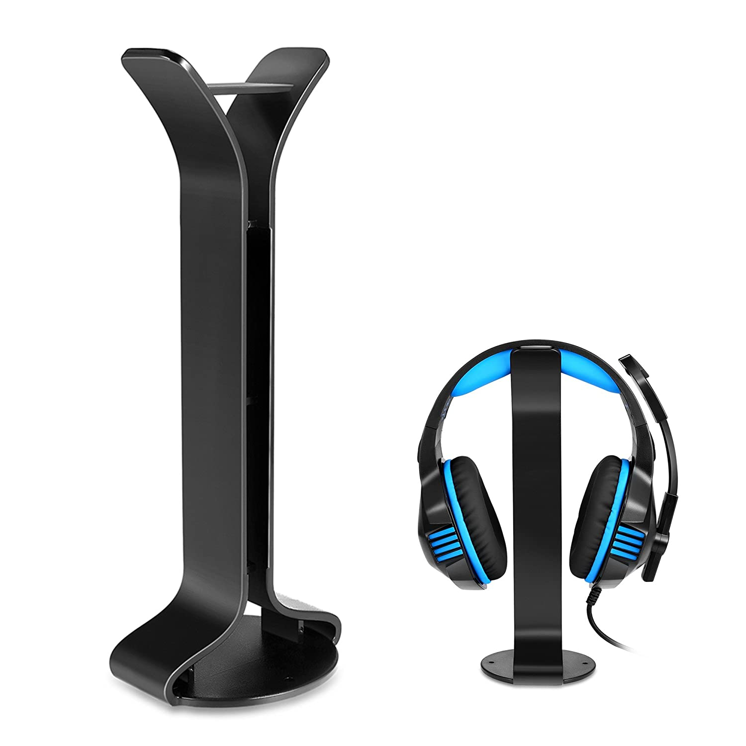 Headphone Stand Headset Holder Earphone Stand ABS Solid Base for All Headphones Size-Black Micolindun