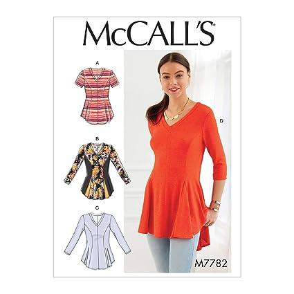New Look Ladies Easy Sewing Pattern 6415 Jersey Knit Asymmetric Hemline Tops ...