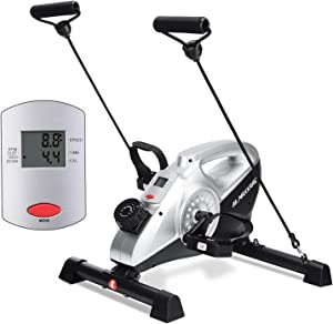 MaxKare Exercise Bike Stationary Magnetic Cycle Pedal Exerciser Under Desk Bike with LCD Monitor for Leg and Arm Recovery for Men and women at Home and Office (Resistance Bands Included)