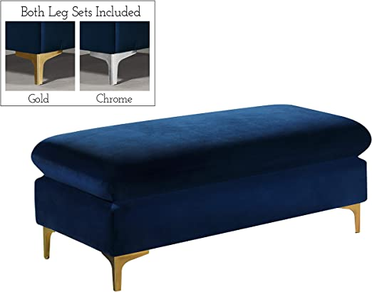 Contemporary Modern Tufted Velvet Geometric Metal Ottoman Bench in Gold Black