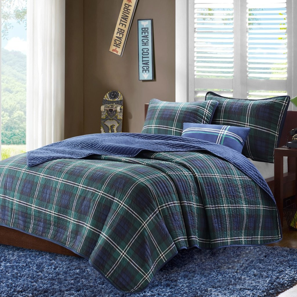 D&H 4 Piece Boys Navy Blue Green Madras Glen Plaid Theme Coverlet Full Queen Set, Stylish All Over Tartan Check Plaided Bedding, Horizontal Pillow Vertical Stripe Trim Lodge Cabin Themed Pattern