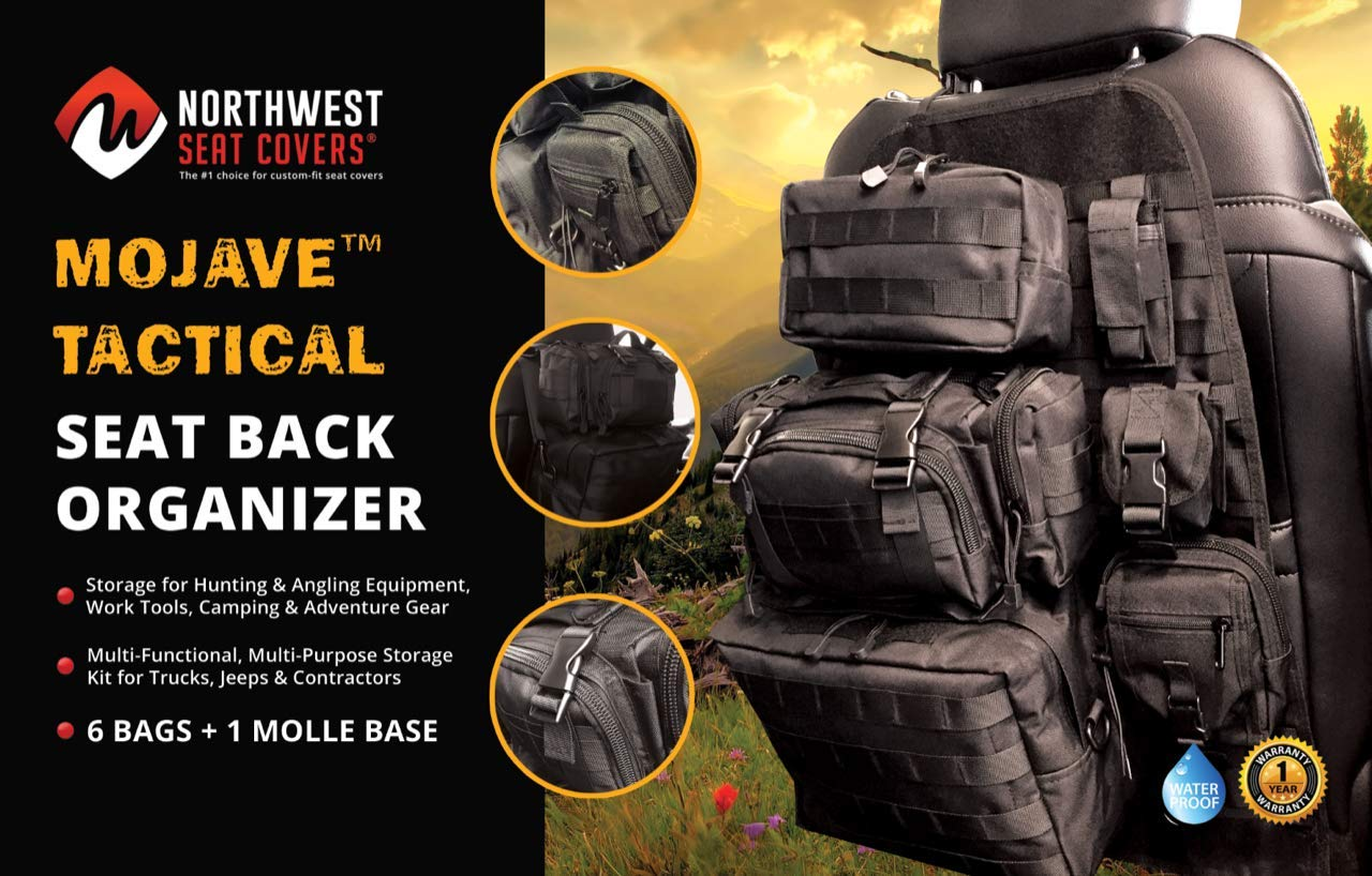 Vehicle Seatback Storage Hanger Bag Ford Chevy Toyota Ram Honda Jeep Backseat Organizer Traveling Mojave Tactical Seat Back Organizer for Car Truck SUV Work Tools Storagel for Hunting