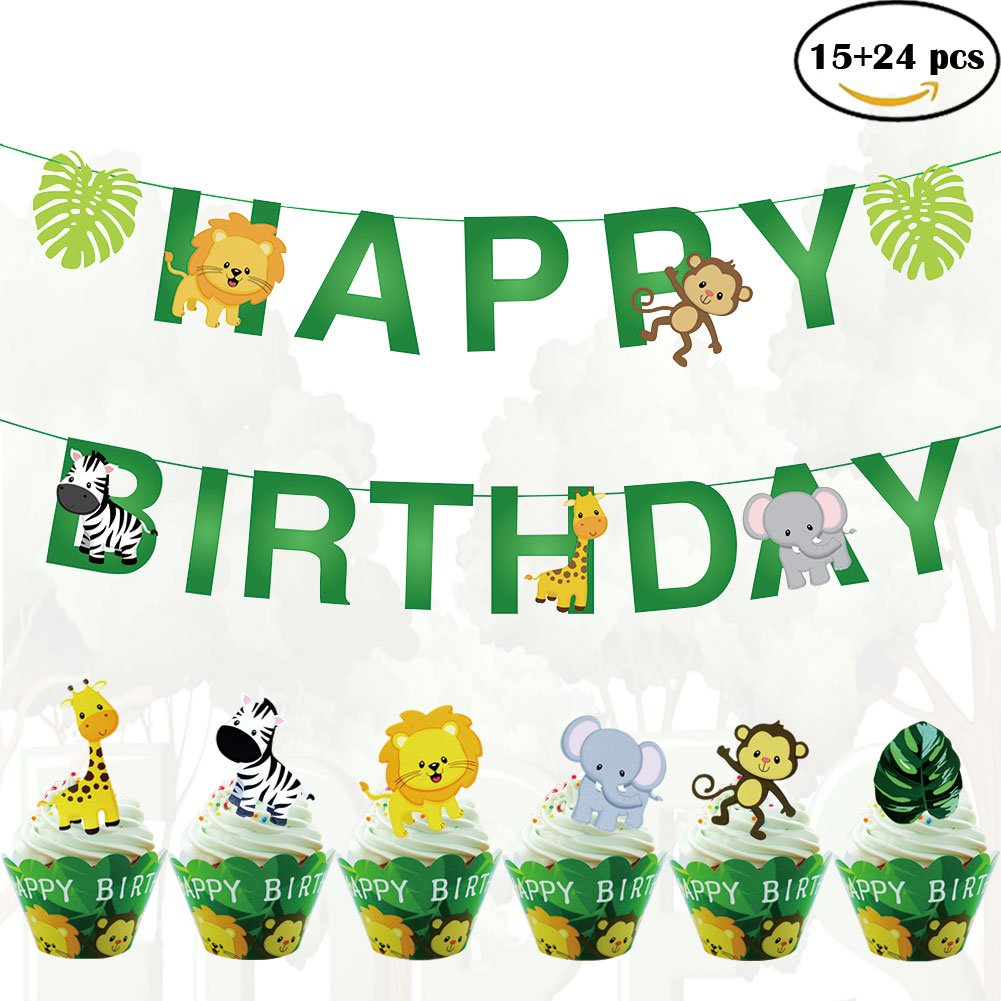 39pcs Jungle Animals Leaves Happy Birthday Decoration Set with 19pcs Animal Banner 24pcs Cupcake Toppers and 24pcs Wrappers for Woodland Garland Forest Theme Birthday Festival Party