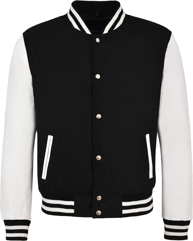 Varsity Baseball College Jacket Tela Negra con Estilo de Manga de Cuero Blanco