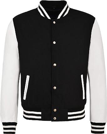 Varsity Baseball College Jacket Tela Negra con Estilo de Manga de Cuero Blanco: Amazon.es: Ropa y accesorios