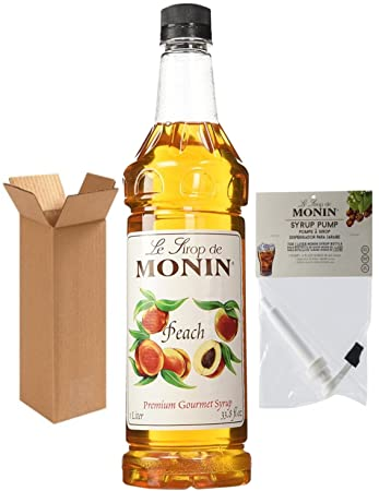 Monin Peach Syrup, 33.8-Ounce Plastic Bottle (1 Liter) with Monin BPA