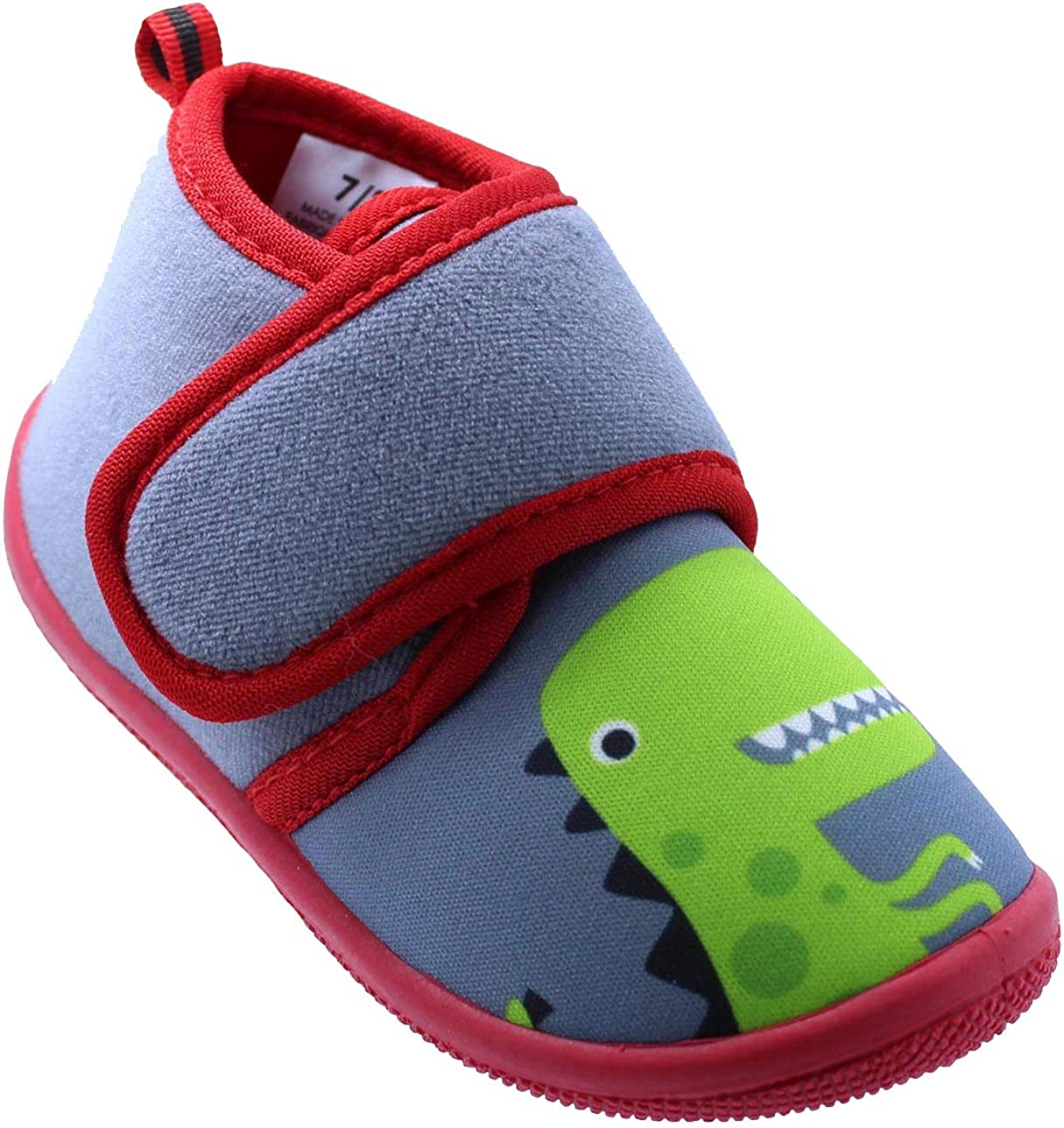 Black and White Toddler Boys Dinosaur Daycare Slippers