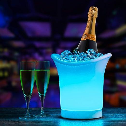 para bebidas de vino o hielo ideal para fiestas nocturnas Casavidas Cubitera de hielo con luz LED de 5 litros para cambiar de color