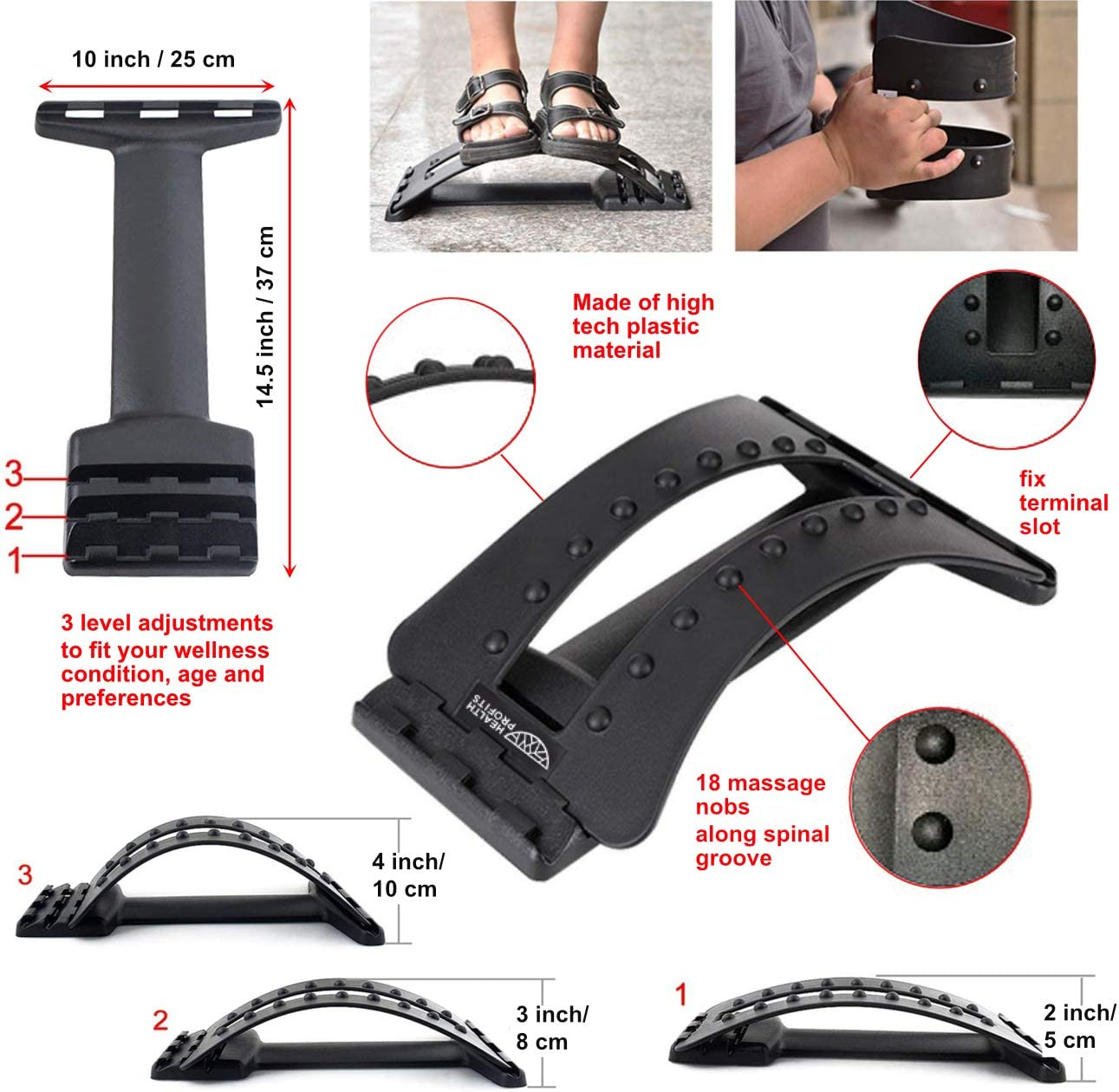 Back Hero Car Seat Decompression Spine Deck Back Stretcher Back Cracking Device Used as Lumbar Stretcher for Lower Back Pain Massager Spine Aligner Traction for Home or add Office Chair