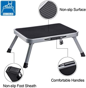 Delxo Step Stool Portable Lightweight Folding Steel Step Ladder with Non Skid Rubber Platform Stable One Step Ladder 330-Pound Capacity