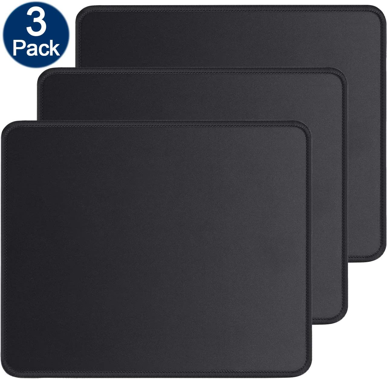 Gaming Mouse Pad Stitched Edges Mousepad Non-Slip Rubber Base Black 3-Pack