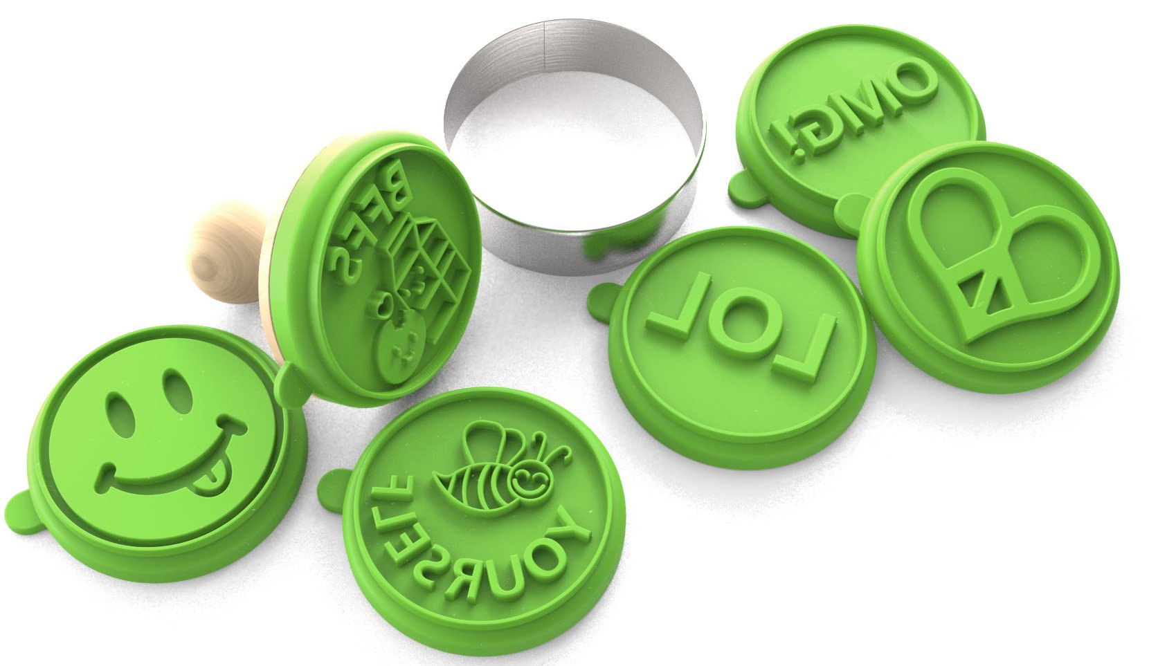 Silicandy Cookie Stamp Molds - 4/6 Set - Great for Activities with Kids - Themes are Get Well Soon / Royal Princess / Social Media Tween / Spread the Love – Silicone Kit for Homemade Cookies [Green]