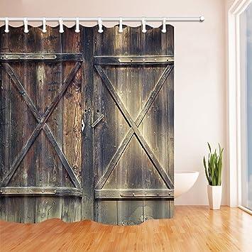 Nyngei Rustikal Holz Tur Dusche Vorhange Fur Badezimmer Scheunentor