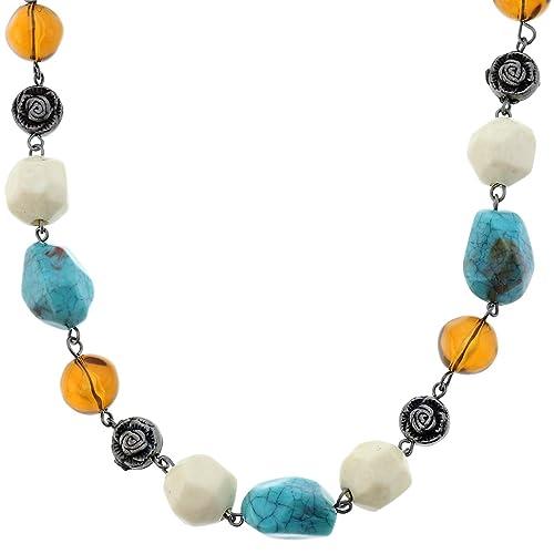 599865c56aa0 Collar de plata color rosa para mujer - Collar de perlas con panes color de  rosa - Hermosos collares de cuello  Amazon.es  Joyería
