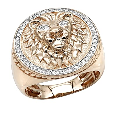 Luxurman 10K Solid Gold Lion Head Diamond Ring for Men Pinky Rings